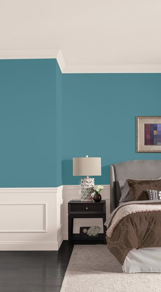 Like The New Purple Teal Tones Such As Smoked Turquoise 30bg 23 124 A1293 By Dulux Paints Pictured On Walls Of This Bedroom Are Reminiscent